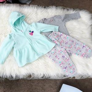 3 piece fleece hoodie and floral pants set